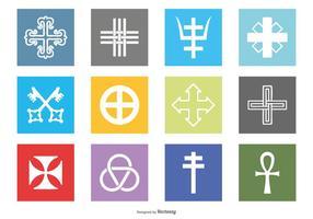 Religiösa symboler Icon Set vektor