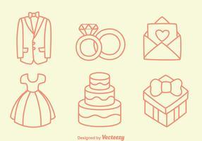 Sketch Hochzeit Element-Vektoren vektor