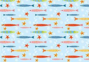 Funky Gullig fisk mönster vektor