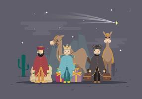 Gratis Drei König mit Kamel in der Wüste, glückliche Offenbarung Tag Illustration vektor