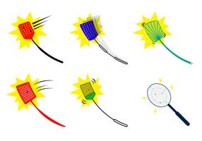 Uppsättning Fly Swatter Vector med Bug