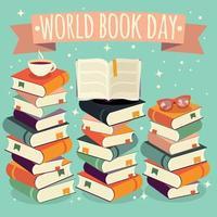 världens bokdag, bunt med böcker vektor