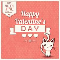 Alla hjärtans dagskort med typografiskt meddelande och kattunge vektor