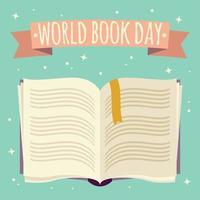 världsbokdagen, öppen bok med festlig banner vektor