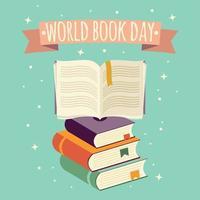 världsbokdagen, öppen bok med festlig banner