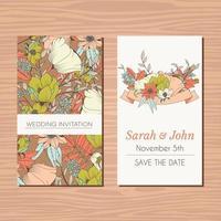 bröllop inbjudningskort med handritad blomma vektor