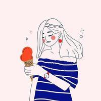 flicka med glass vektor