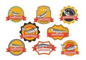 Set von Sardine Label vektor