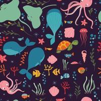 samling av färgglada havs- och havsdjur