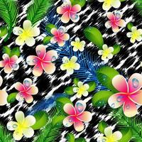 vacker sömlös blommig djungelmönsterbakgrund. vektor