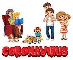 Coronavirus-Wortzeichen mit Familie auf weißem Hintergrund vektor
