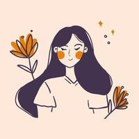 flicka med blommor vektor