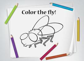 Kinder fliegen Färbung Arbeitsblatt vektor