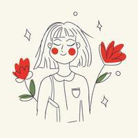 flicka med röda blommor vektor