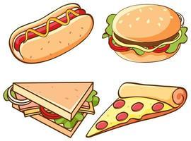 isolierte Reihe von Fast Food