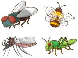 isolerad bild av olika insekter