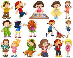Kinder in großen Gruppen spielen unsere verschiedenen Rollen vektor