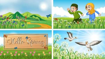 natur scen bakgrunder med barn och fåglar i parken vektor