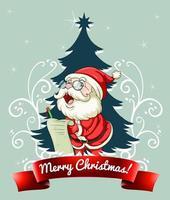 Frohe Weihnachten 2020 Schriftart Banner mit Weihnachtsmann, der Kindergeschenkwunschliste prüft vektor