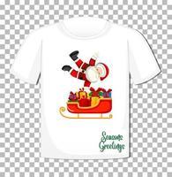 Weihnachtsmann tanzt mit Schlittenkarikaturfigur im Weihnachtsthema auf T-Shirt auf transparentem Hintergrund vektor