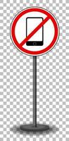 kein Telefonschild mit Ständer isoliert auf transparentem Hintergrund