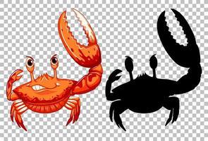 röd krabba och dess silhuett på transparent bakgrund vektor