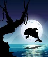 delfin i natur scen siluett