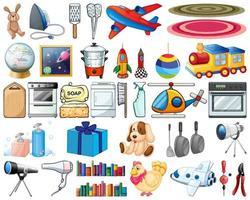 großer Satz von Haushaltsgegenständen und Spielzeugen auf weißem Hintergrund vektor