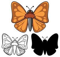Satz Schmetterlingskarikatur