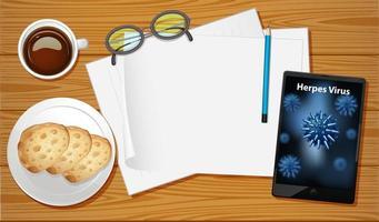 Tischluftansicht mit mobilen Bildschirmmodellen