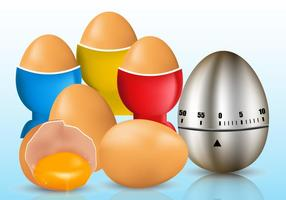 Egg Timer och spruckna ägg vektorer
