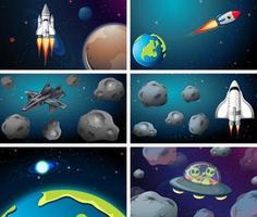 großes Weltraumszenenset vektor
