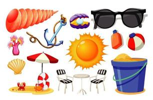 Satz Sommerstrandikonen-Karikaturstil auf weißem Hintergrund