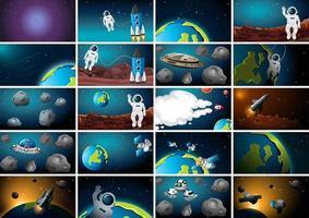 stor uppsättning rymdbakgrundsscener vektor