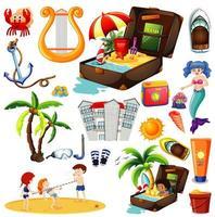 uppsättning sommar strand ikon och barn tecknad stil på vit bakgrund
