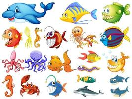 stor uppsättning av många havsdjur på vit bakgrund vektor