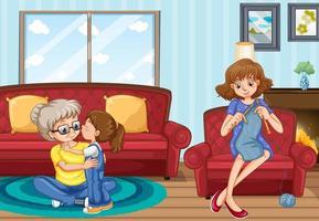 scen med människor i familjen som kopplar av hemma vektor