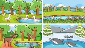 Hintergrundszenen von Tieren in freier Wildbahn vektor