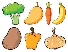 großer Satz von Obst und Gemüse auf weißem Hintergrund vektor