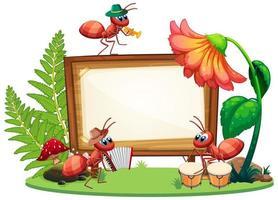 Grenzschablonendesign mit Insekten im Gartenhintergrund vektor