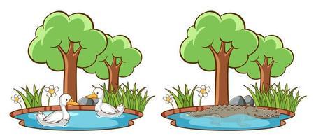 uppsättning vilda djur i parken med damm och träd vektor