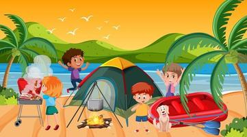 picknickplats med lycklig familj på stranden vektor