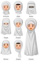 typer av islamiska traditionella slöjor av kvinnor i tecknad stil