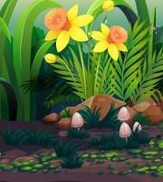 natur scen med gula påsklilja blommor i trädgården vektor