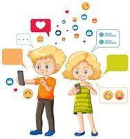 Leute benutzen Smartphone und Emoji-Symbol-Zeichentrickfigur isoliert auf weißem Hintergrund