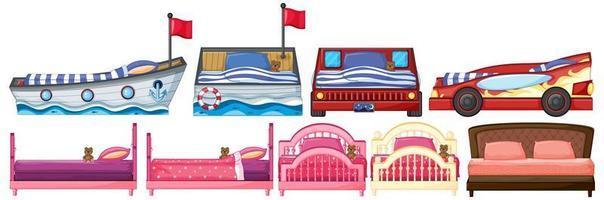 uppsättning säng i olika former och mönster vektor