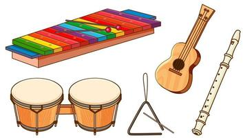 isolierter Satz von Instrumenten auf weißem Hintergrund