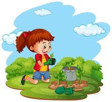 scen med ungen som planterar träd i trädgården