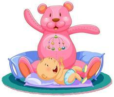 scen med baby sover i sängen med jätte nallebjörn