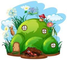 trädgårdsarbete tema med insekter i sitt hem vektor